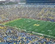 Michigan warming up at Michigan Stadium (Chris Zadorozny / MJ)