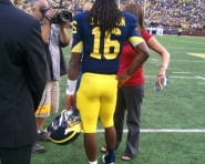 Denard Robinson being interviewed (Chris Zadorozny / MJ)