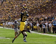 Devin Funchess, freshman tight end emerged as one of the top receivers on the day for Robinson. He caught four passes for 106 yards and one touchdown. (Tommy Alexander / MJ)
