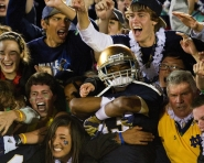 Student section cheers for Notre Dame (Tommy Alexander / MJ)
