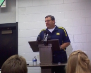 Michigan Coach Brady Hoke speaking at the postgame press conference (Ricky Lindsay / MJ)