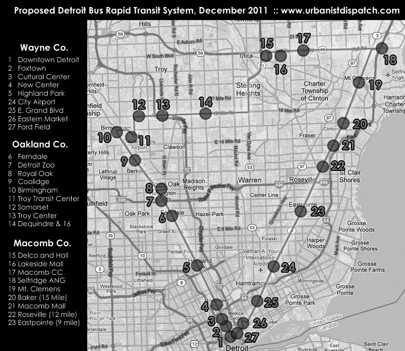 A proposed route of the Bus Rapid Transit within Metro Detroit (Urbanistdispatch.com)