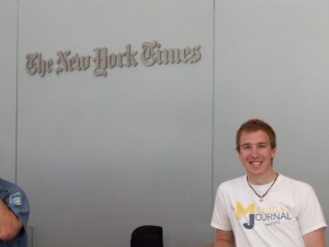 Chris Zadorozny, The Michigan Journal inside the New York Times Building