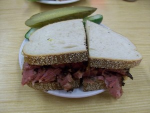 Pastrami on rye with brown mustard from Katz's Deli