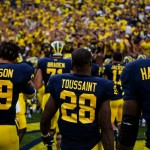 Drake Johnson, Fitzgerald Toussaint and Brandin Hawthorne at Michigan Stadium. (Tommy Alexander / MJ/ File)