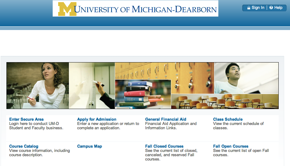 """Although the service now boasts a new appearance, the Office of Registration and Records said in an email that """"all links and navigation throughout the system are essentially unchanged."""" (Screen capture of UM-Dearborn Connect website)"""