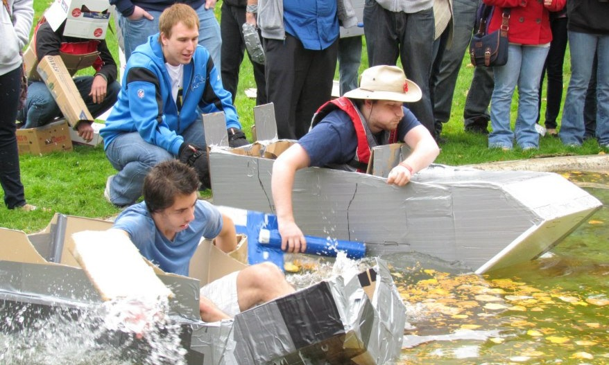 This year's turnout for the cardboard boat races was the largest it's been in three years. (Photo courtesy of Alex Piazza)
