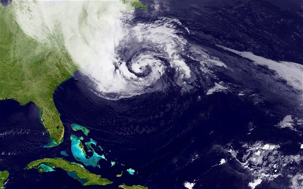 Hurricane Sandy, which has already claimed over 50 lives in the Caribbean, is predicted to bring heavy winds and floodwaters to the mid-atlantic region. (Photo by NASA via Getty Images)