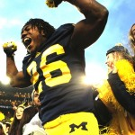Dennis Norfleet celebrates after the Wolverines beat Michigan State 12-10 (Credit: Tommy Alexander / MJ)