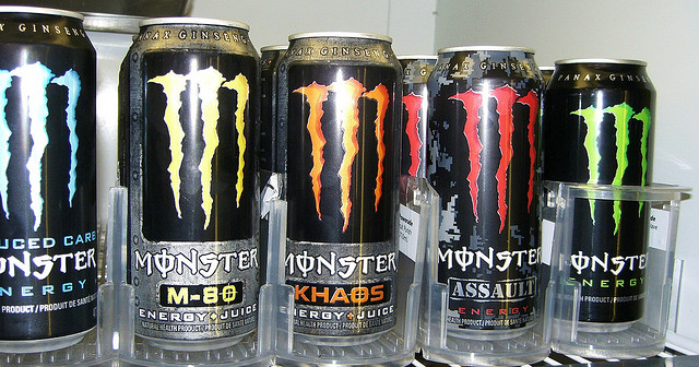 One 16 ounce Monster can contains 160 milligrams of caffeine. In comparison, the average 12 ounce Starbucks coffee contains 143 milligrams. (Photo courtesy of Toban Black on Flickr under CC license)