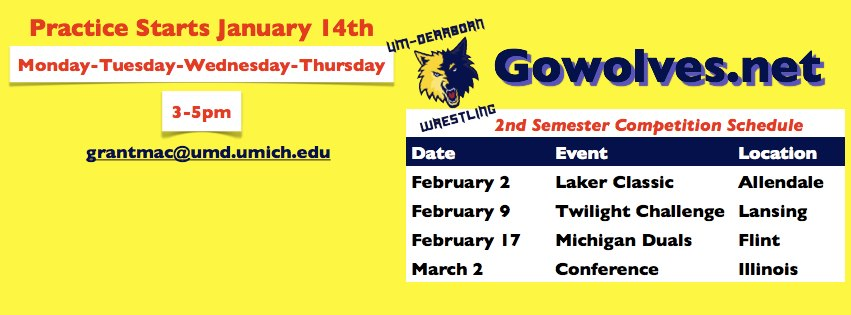 Upcoming schedule for UM-Dearborn Wrestling (Facebook page)