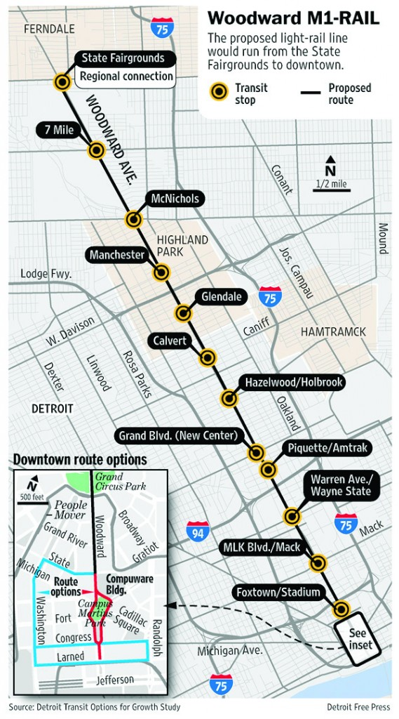 The proposed M1 light rail