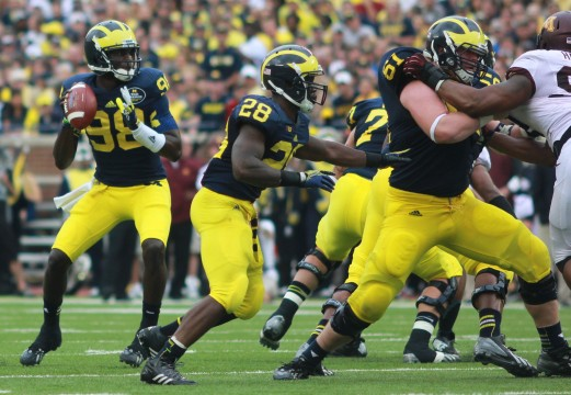 Quarterback Devin Gardner drops back to pass against Minnesota in the homecoming game. Amanda Gosline/MJ