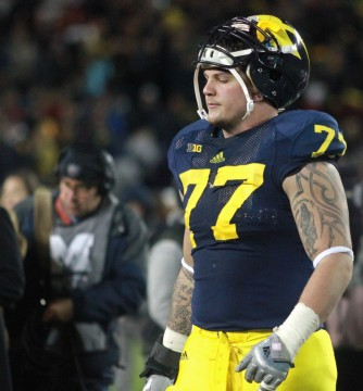 Fifth-year senior lineman Taylor Lewan after Michigan's loss to Nebraska. (Amanda Gosline/MJ)