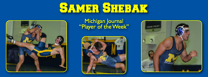 UM-Dearborn wrestler Samer Shebak. (Photo courtesy of Sam Janicki, sjanickiphoto.com.)