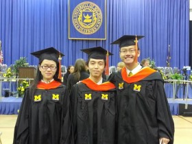 Xuan Zhang (Left), Rongheng Li (Middle), and Haoyei Xie (Right) celebrated their graduation on Saturday. Aaron Ynclan/MJ