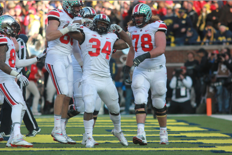 Ohio State running back Carlos Hyde celebrates his game-winning fourth quarter touchdown. The Buckeyes went on to defeat the Wolverines 42-41 in The Game. (Amanda Gosline/MJ)