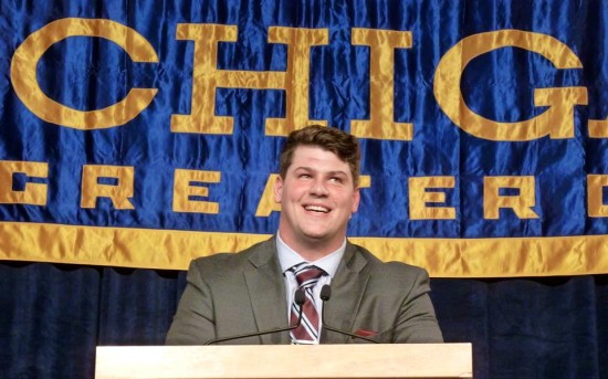 Fifth-year senior Taylor Lewan while giving his senior speech at the Michigan Football Bust on December 9. (Michael Holzman/MJ)