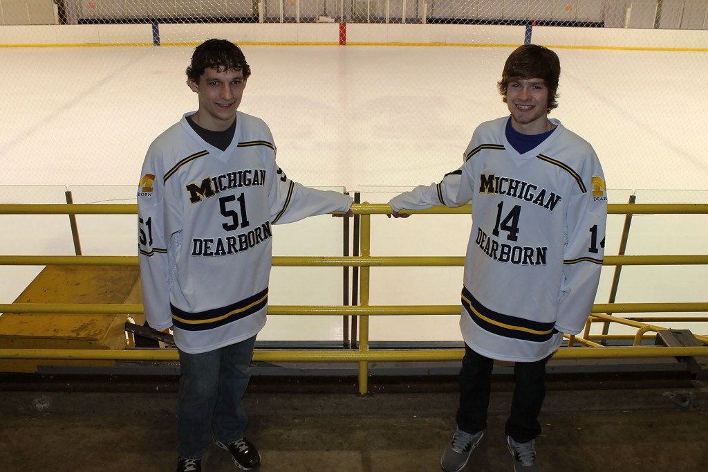 Hockey signees Austin Stevens and Lucas Hart pose in front of the Fieldhouse ice rink. Photo courtesy of Asia Jayne.