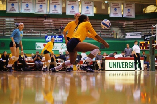 Senior Nia Martin while playing volleyball for the UM-Dearborn Lady Wolverines. Photo courtesy of Nia Martin.