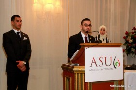 UM-Dearborn ASU President Fareed Shalout speaks at the banquet on Friday night.