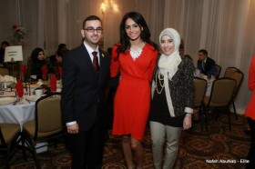 Fareed Shalout, Wedad Ibrahim, and Sarah Elhelou represent UM-Dearborn at the banquet.