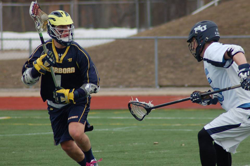 Junior attacker Ruben Cabello eyes the field for an open teammate against Northwood University. (Photo courtesy of Indira Cabello).