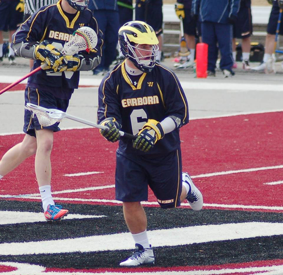 Dylan Hatcher during the lacrosse team's opening weekend. (Photo courtesy of Indira Cabello).