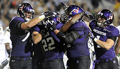 Northwestern football players celebrates a play during the 2013 season. (AP Photo)