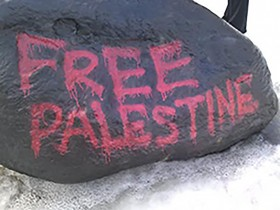 The organization also painted the rock outside of the University Center to gain attention about the conflict.