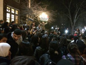 Students at UM-Ann Arbor rally over the divestment proposal.