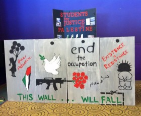 The Students for Justice in Palestine created this mini representation of the wall built by the Israeli government.