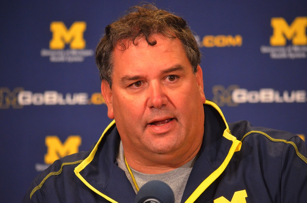 Brady Hoke addresses the media during the post-game press conference after Michigan's spring game. The Wolverines ended spring game inside the Big House to a modest crowd. (Rebecca Gallagher/MJ).