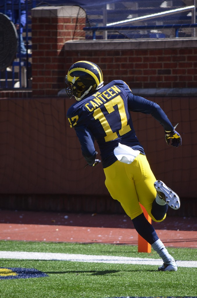 Freshman wide receiver Freddy Canteen gallops into the end zone during the Michigan football spring game. (Rebecca Gallagher/MJ).