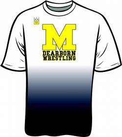 UM-Dearborn wrestling program's logo on a shirt. Photo courtesy of Grant MacKenzie.