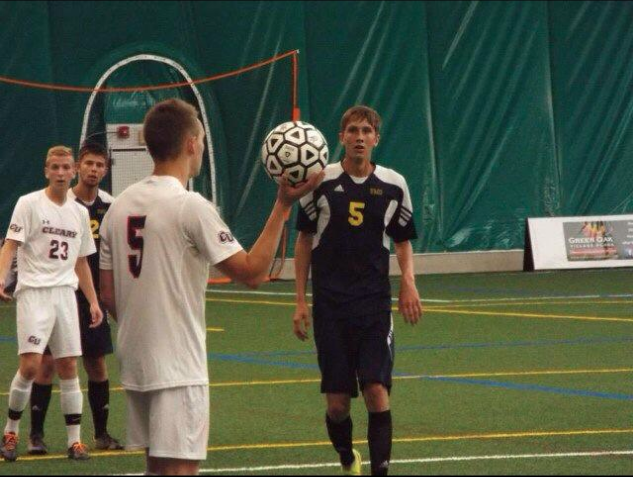 Brody Hall awaits a throw-in during a UM-Dearborn men's soccer game. (Photo courtesy of the Hall family).