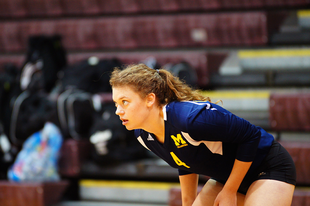 Molly Hilsabeck readies herself for a play. (Photo courtesy of Ferrell Mayes).