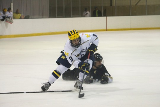 Ryan Urso skates past a defender during UM-Dearborn's 6-5 loss to Western Michigan Friday, Oct. 3, 2014. Photo courtesy of Paul Taylor.