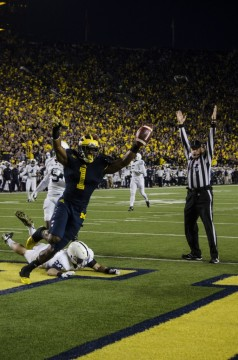 Devin Funchess celebrates his 43-yard first quarter touchdown against Penn State on Oct. 11, 2014. (Rebecca Gallagher/MJ)