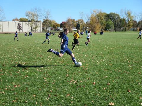 Nadine Makki during a UM-Dearborn women's soccer game this season. (Photo courtesy of UM-Dearborn women's soccer)