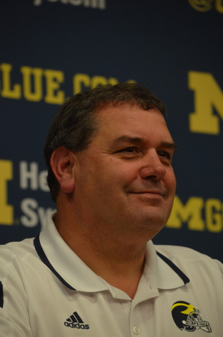 Brady Hoke speaks to the media after Michigan's 23-16 loss to Maryland Nov. 22, 2014. (Rebecca Gallagher/MJ)