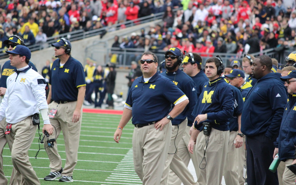 Brady Hoke and his coaching staff look on during Michigan-Ohio State. (Ricky Lindsay/MJ)