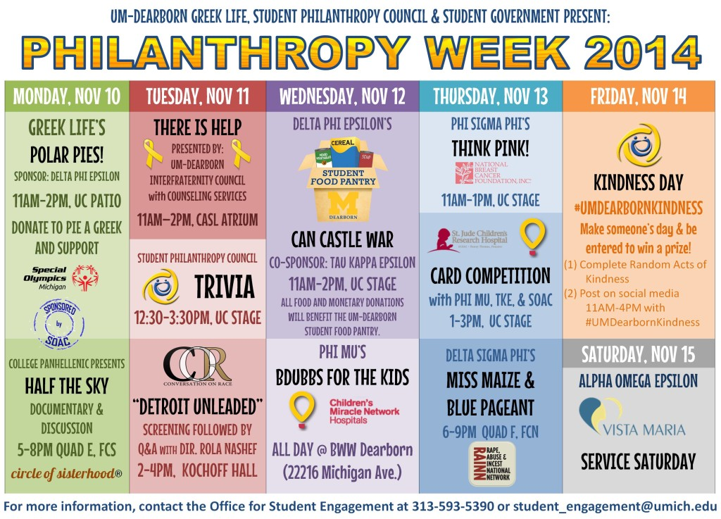 Calender for Philanthropy Week