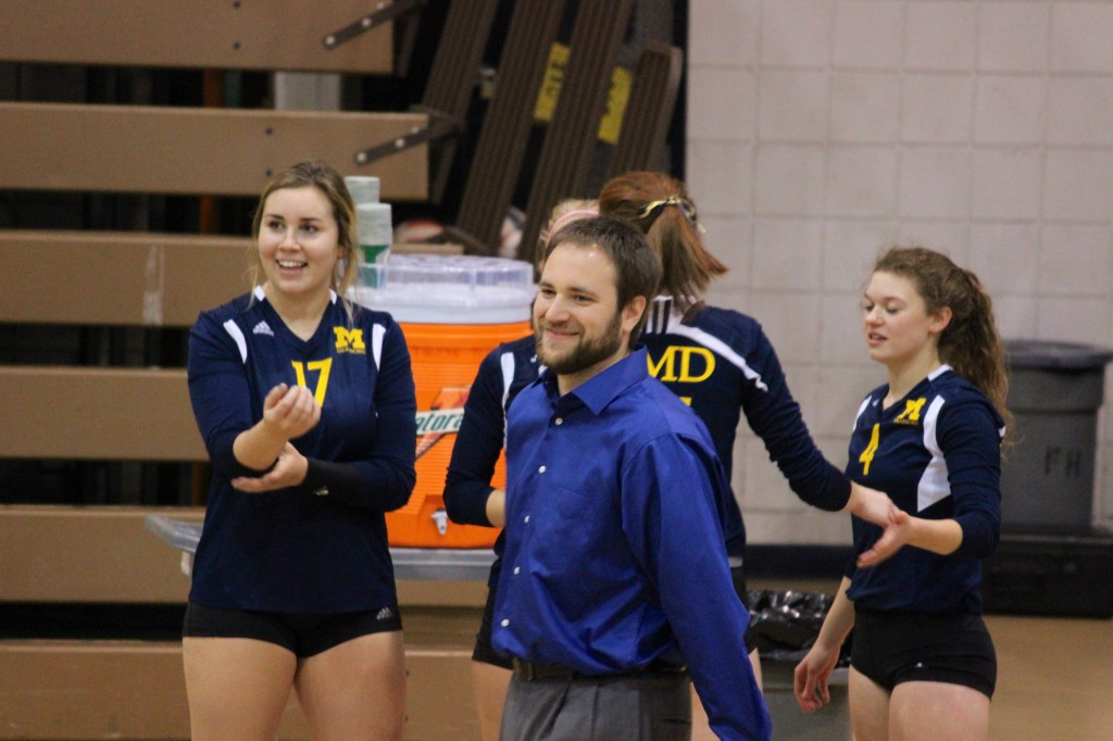 Eric Stark smiles before UM-Dearborn's loss to Lawrence Tech in October 2014. (Ricky Lindsay/MJ)