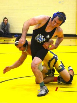 Jared Davidson competes in the Fall Brawl. (Photo courtesy of UM-Dearborn wrestling).