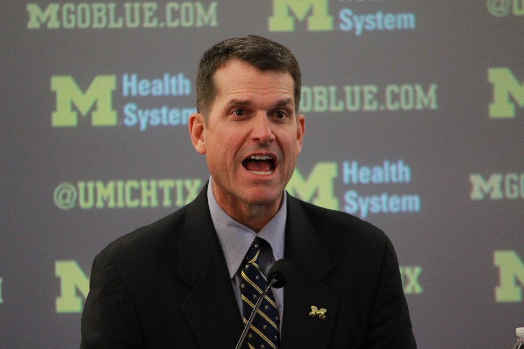 Jim Harbaugh during his introductory press conference on Dec. 30, 2014. (Ricky Lindsay/MJ)