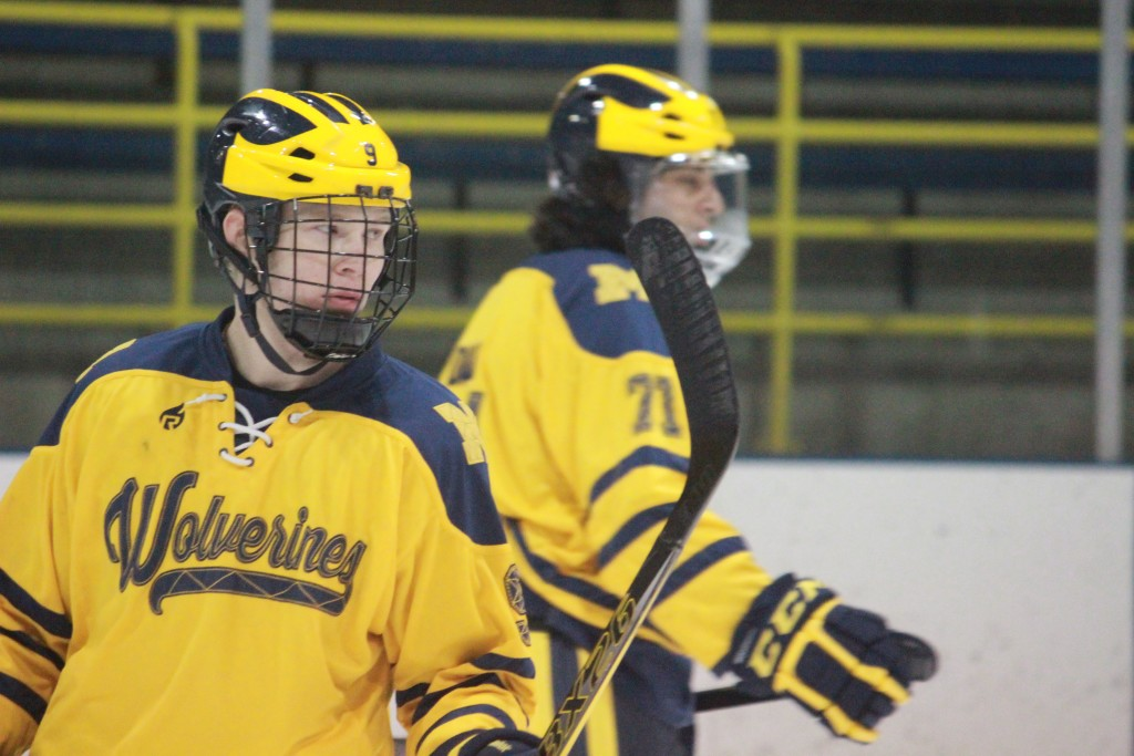 Ryan Kelly looks on during  the second period of UM-Dearborn's game vs. Oakland on Jan. 23, 2015. The game was cancelled due to thin ice. (Ricky Lindsay/MJ)
