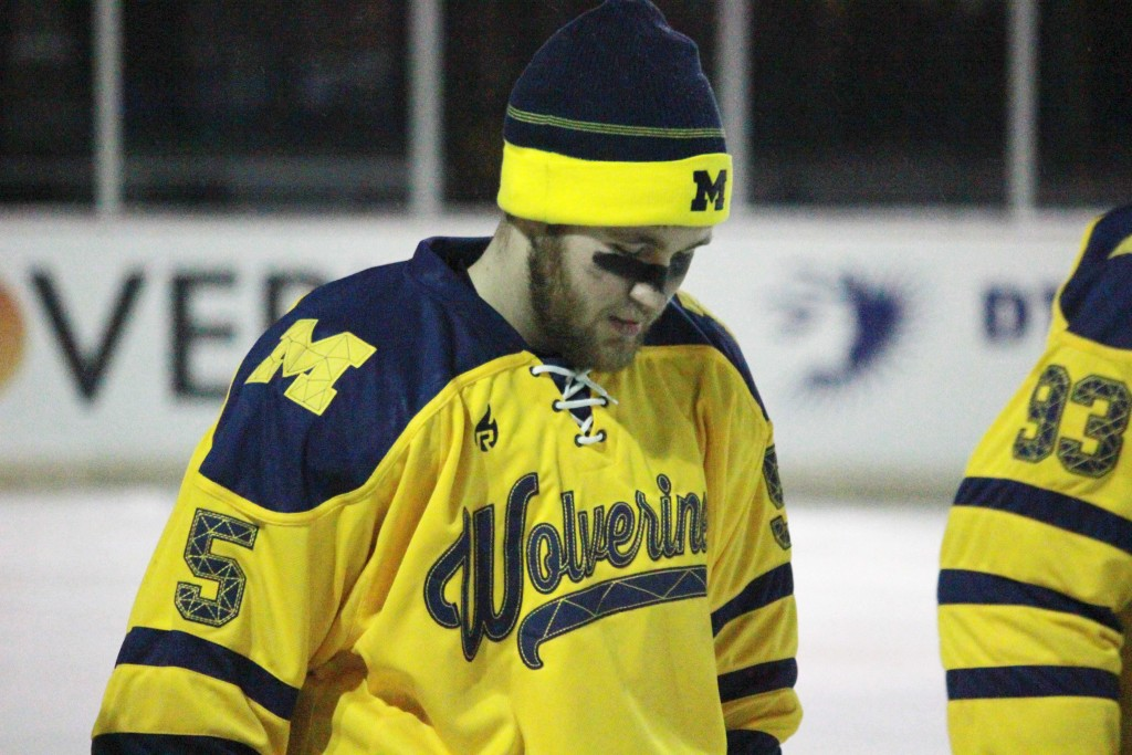 Andrew Shalawylo readies for UM-Dearborn's outdoor game vs. Oakland during pre-game announcements. (Ricky Lindsay/MJ)