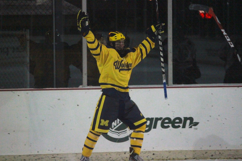 Junior forward Ryan Kelly celebrates a goal during UM-Dearborn's 10-4 win over Oakland Sunday, Jan. 4, 2015 at Clark Park. Kelly scored two goals in the win. (Ricky Lindsay/MJ)