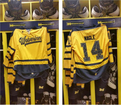 UM-Dearborn will be wearing alternate jerseys for its outdoor hockey game vs. Oakland Jan. 3. (Photo via Donnie Nagle)